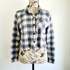 Distressed Cropped Plaid Flannel
